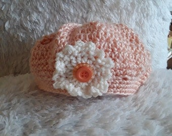 Crochet Beret Hat with Flower