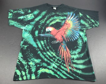 Vintage 90s radical nature scarlet Macaw all over print t-shirt mens XL