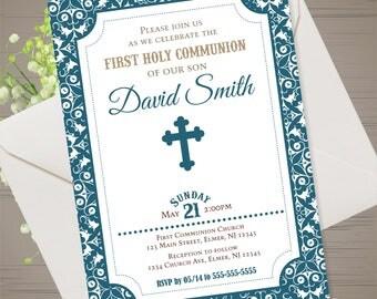 BOY FIRST COMMUNION Invitation Boy First Holy Communion Invitation Boy Confirmation Invitation Boy Baptism Invite Boy Holy Confirmation