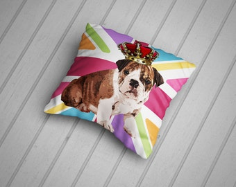 Bulldog Cushion.  British Bulldog Puppy on Colourful Union Jack. 45cm Cushion, Hand Made in the UK from 100% Cotton.