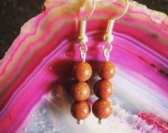 Sunstone Gemstone Drop Earrings