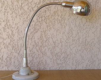 Industrial desk lamp in chrome metal and painted metal