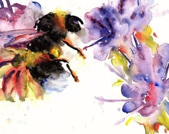 Bumblebee Watercolor Print
