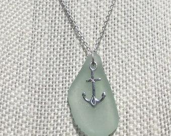 Sea Foam Green Sea Glass with Anchor Charm