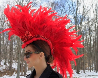 Feather Mohawk / Fire Red Headdress