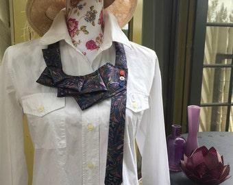 Pink and Blue paisley statement neckpiece/necklace