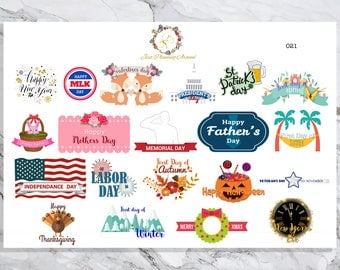 Yearly Holiday Stickers, Holiday Marker Sticker, Holidays Planner Stickers, Annual Holiday Stickers