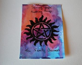 Map postcard Supernatural watercolor