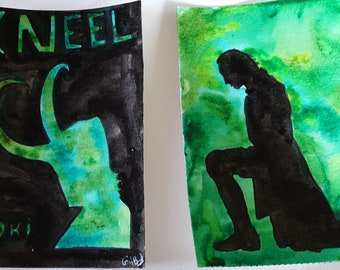 Original watercolor paintings set of two Loki
