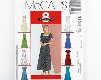 McCall's Pattern 3129, Dress, Size 12, 14, 16, Sundress, Boho Dress, Summer Dress, Dress Sewing Patterns, Princess Seams, Sleeveless, Uncut