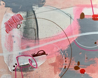 original abstract painting on linen -blooming air I-