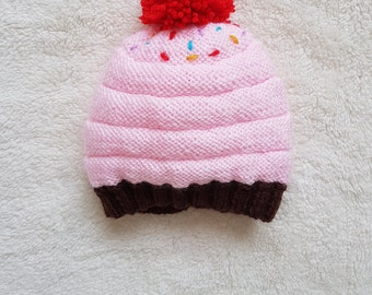 Hand knit Cupcake Baby Hat