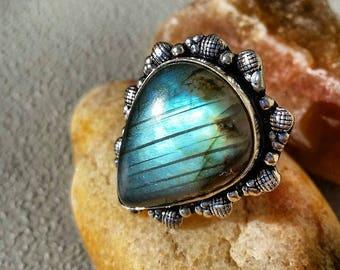 Labradorite Ring 7 1/4 Sterling Silver Blue Natural Gemstone Rings