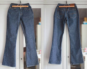 Ralph Lauren High Waisted Denim Jeans Bell-bottoms Dark Blue Vintage Pants Trousers Retro Women Clothing High Fashion / W24 / Small size