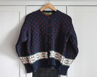 Vintage Sweater Thick Bolero Navy Red Dots Short Top Longsleeve Women Girly Winter Autumn Cotton Oversize Warm and Thick / Large size