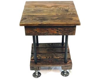 rustic end table with pipe legs reclaimed wood side table barn wood table