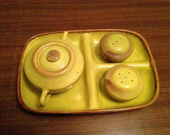 Vintage MCM Brock Ware Desert Mist Green Salt & Pepper, Sugar and Creamer with Serving Tray - Brock California Rustic