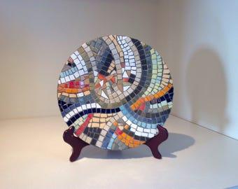Decorative plate in mosaic