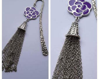 Enamel Purple Flower Bookmark with Tassels