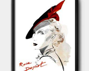 Rose Descat Ad · 1930s · Instant Download · Hats · Paris · Vintage · Fashion · Printable #136