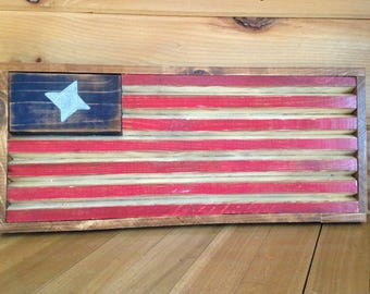 Rustic distressed American Flag with beveled edges
