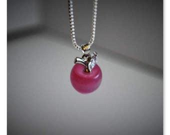 Apple pendant necklace(pink)