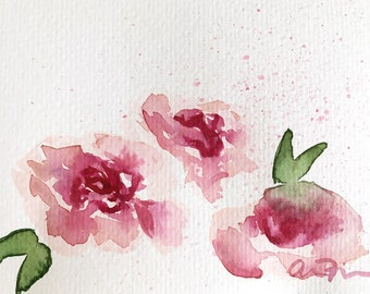 Peonies Loose Watercolor Painting 4 x 6 Postcard Original Art, Floral Flower Painting