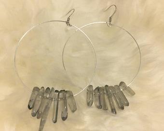 Raw Quartz Stone Hoop Earrings