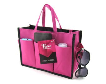 Periea Large Handbag Organiser with Handles, Black/Pink/Baby Pink - Large Size | KRISTINE