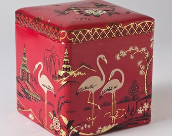 Asian-Inspired Flamingo Tea Canister, Mid Century Decorative Box