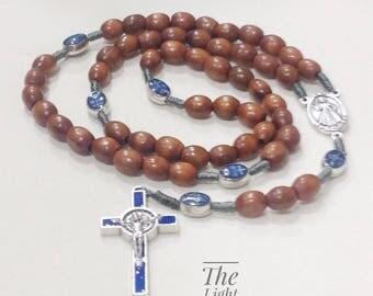 Wooden rosary with St benedict enamel blue cross.catholic rosary.virgin Mary medal.saint Benedict cross.san benito rosary