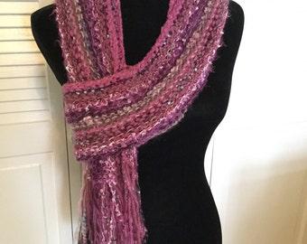 Fun frilly plum scarf