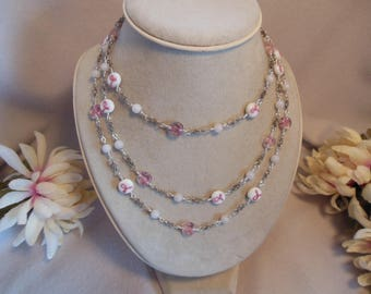 Pink Ribbon Beads & C,hain