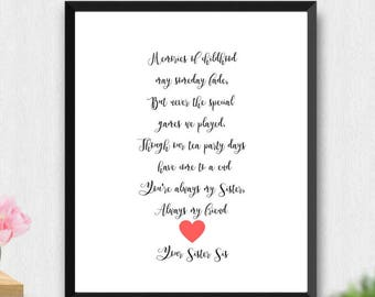 Sister Quotes Printable Present Wedding Personalized Gift