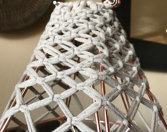 Modern Metal Pendant with hand made macrame