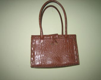 Vintage Liz Claiborne Brown Crocodile Look Handbag  Bow Detail