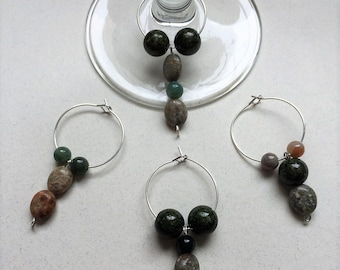 Stone Colored Glass Wine Charms