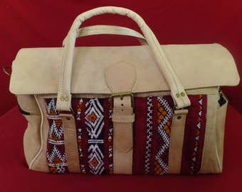 Moroccan Travel bag Handmade With Leather & Colored Carpet Design Material