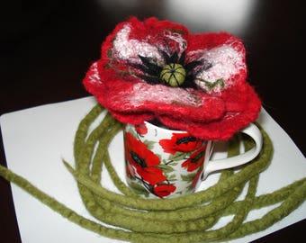 Art wear felted poppy flower necklace/belt/brooch 100% Merino wool, silk New