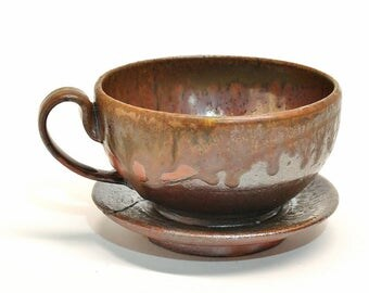 8 oz Espresso/Tea Cup and Saucer, Woodfired Stoneware