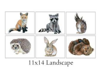 Set Of Six 11x14 Forest Animal Nursery Fine Art Prints - Automatic FREE Shipping - SKU111