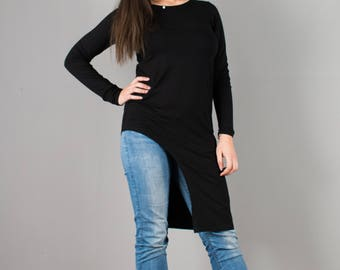 Black Tunic  / Extravagant Tunic / Asymmetrical Tunic / T030205
