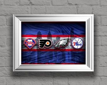 Philadelphia Sports Teams Poster, Philadelphia Eagles, Flyers, 76ers, Phillies, Gift, Eagles Man Cave