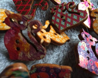 10 Wooden Cat Patterned Push Pins