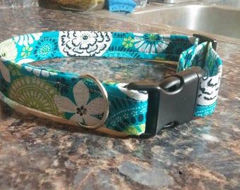 Blue Green Floral Adjustable Dog Collar