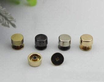 10sets Plated Rivets Flat Head Belt Screws purse leather bag handbag Screws rivet Silver brass Golden Black Leather Work studs High Quality