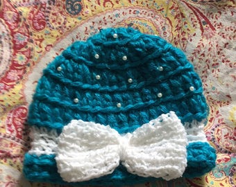 Turquoise baby blue beanie
