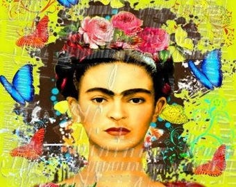 Sunny Frida Kahlo Butterfly Fabric Collage Art Print Mexican Icon Artist Fk129