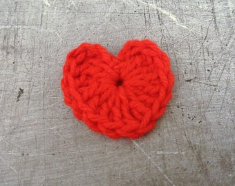 Small Crochet Red Hearts Set of 6
