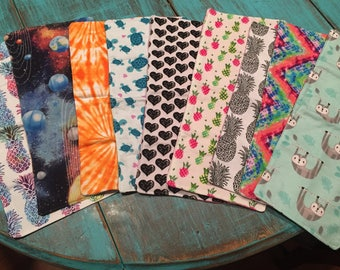 Flannel burp cloths, double sided, multiple options